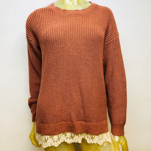 Forever 21 Sweaters Cable Knit Sweater Lace Hem Crewneck Poshmark